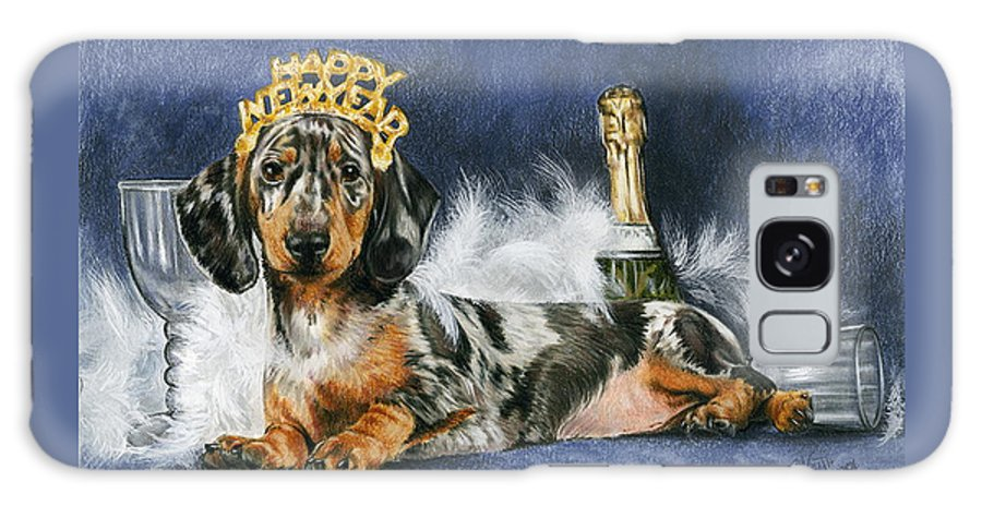 Dog Galaxy S8 Case featuring the mixed media Happy New Year by Barbara Keith