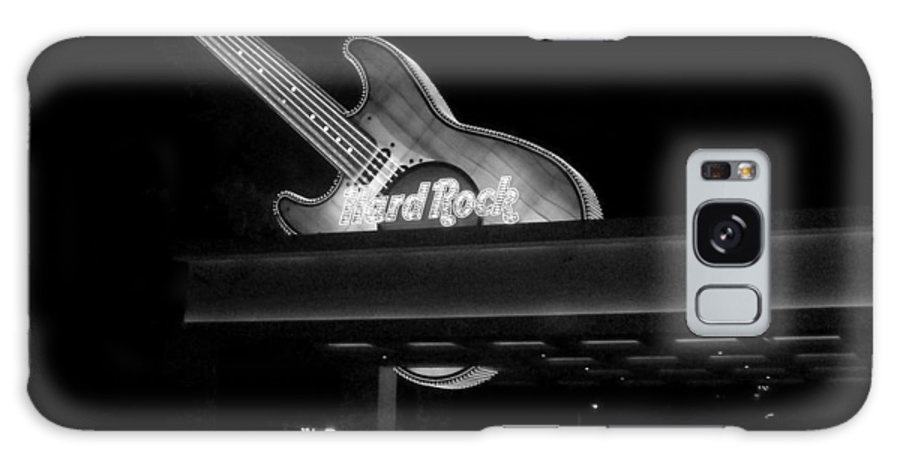 Vegas Galaxy S8 Case featuring the photograph Hard Rock Cafe Sign 2 B-w by Anita Burgermeister