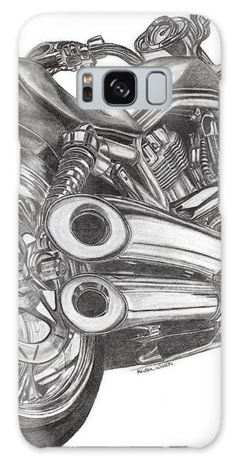 Harley Davidson Galaxy S8 Case featuring the drawing Harley by Kristen Wesch
