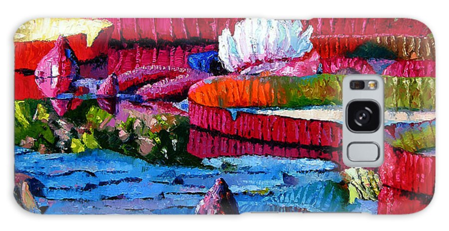 Water Lilies Galaxy Case featuring the painting Harmony Of Color And Light by John Lautermilch