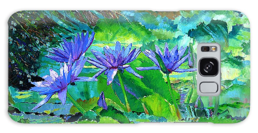 Purple Water Lilies Galaxy S8 Case featuring the painting Harmony Of Purple And Green by John Lautermilch
