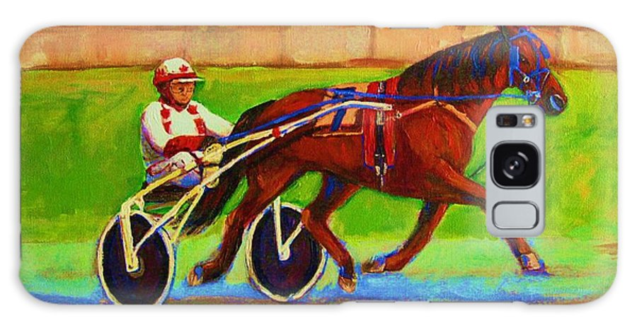 Harness Racing Galaxy S8 Case featuring the painting Harness Racing At Bluebonnets by Carole Spandau