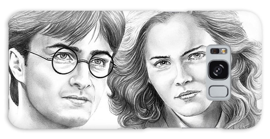 Pencil Galaxy S8 Case featuring the drawing Harry Potter And Hermione by Murphy Elliott