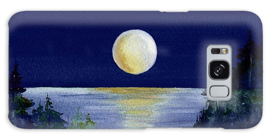 Watercolor Galaxy S8 Case featuring the painting Harvest Moon by Brenda Owen