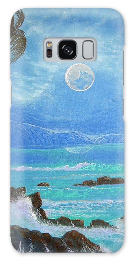 Hawaii Seascape Galaxy S8 Case featuring the painting Hawaii Night Seascape by Leland Castro