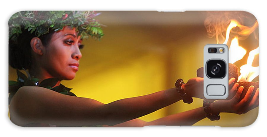 Fire Galaxy Case featuring the photograph Hawaiian Dancer And Firepots by Nadine Rippelmeyer
