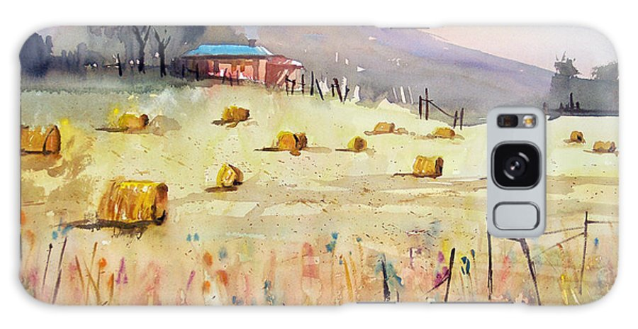 Watercolor Galaxy S8 Case featuring the painting Hay Bales by Ryan Radke