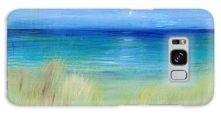 Beach Galaxy S8 Case featuring the painting Hazy Beach Mini Oil On Masonite by Regina Valluzzi