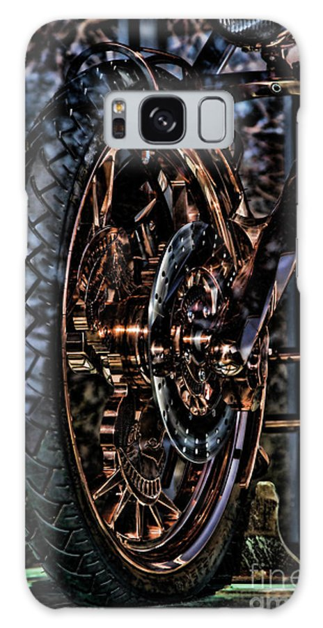 Liberty Bike Galaxy S8 Case featuring the photograph Hdr Liberty Bike Copper Ny by Chuck Kuhn