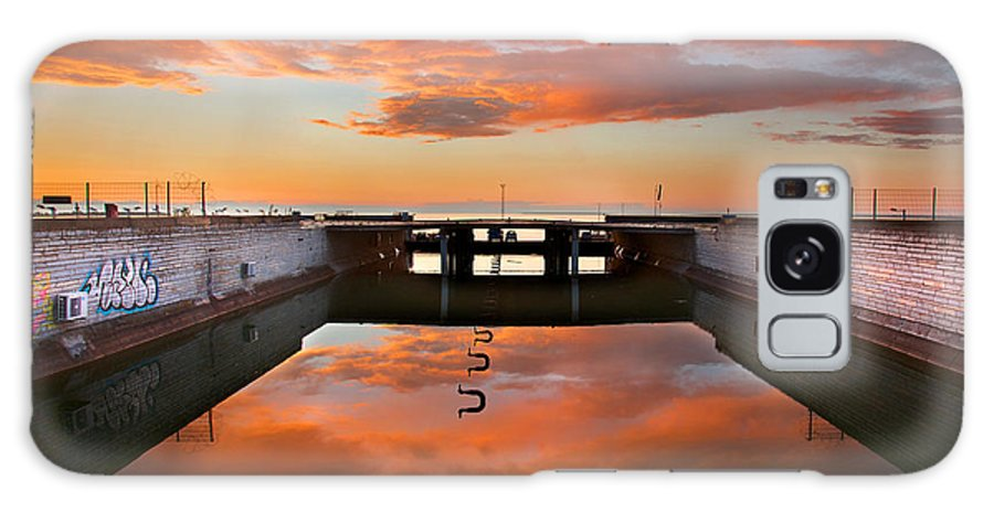 Color Galaxy S8 Case featuring the photograph Hdr Sunset Over Harbor And Graffiti by Sandra Rugina