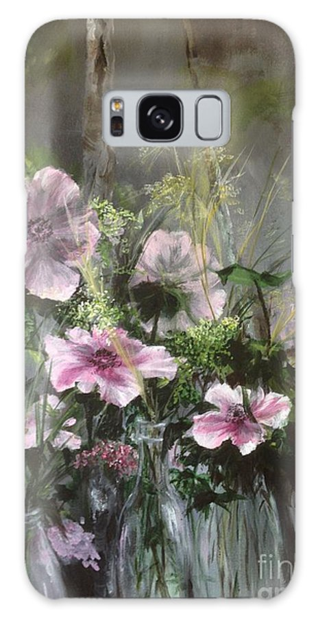 Pink Flowers Galaxy Case featuring the painting Heart knows best, in Pale pink by Lizzy Forrester