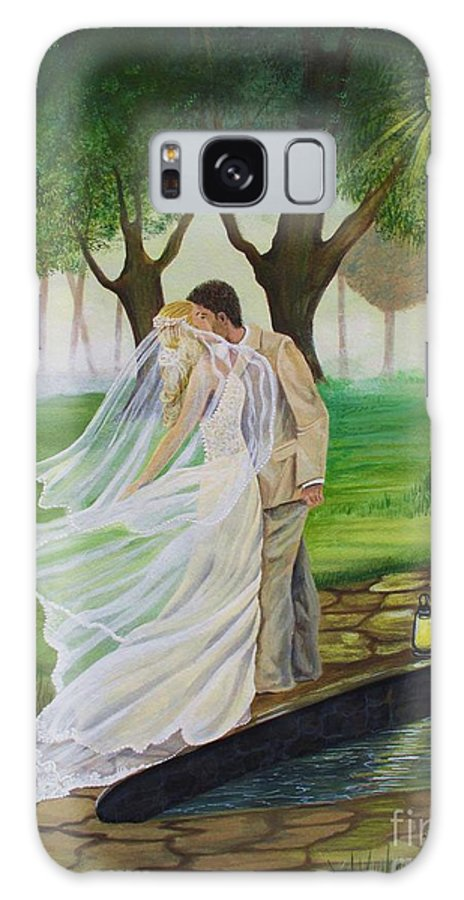 Bride And Groom Galaxy S8 Case featuring the painting Heart To Heart by Kris Crollard