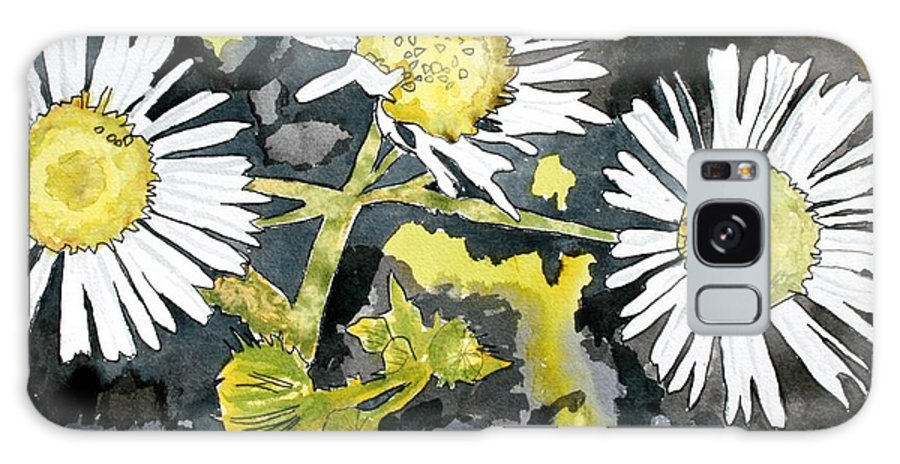 Wildflower Galaxy Case featuring the painting Heath Aster Flower Art Print by Derek Mccrea
