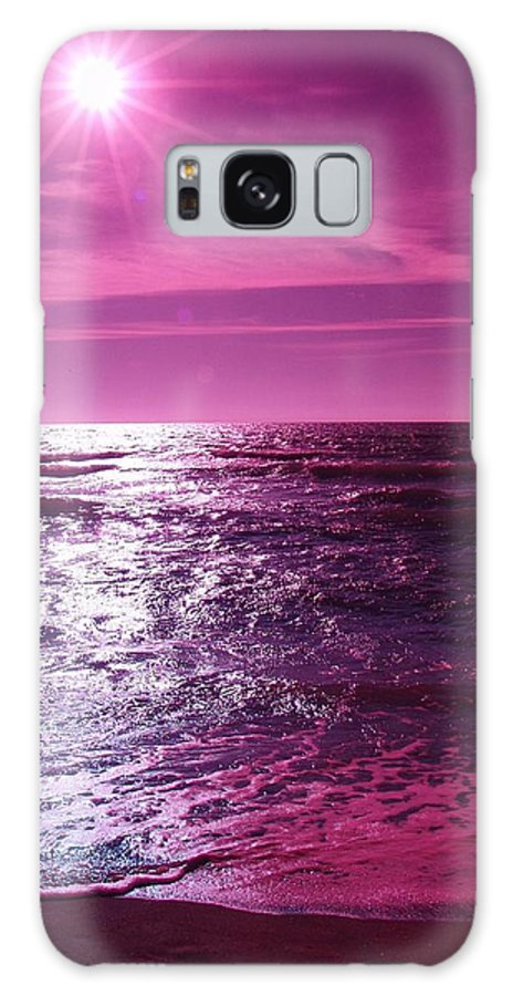 Abstract Galaxy S8 Case featuring the photograph Heaven Shines Purple by Florene Welebny
