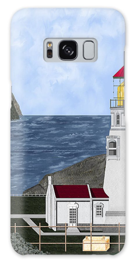 Lighthouse Galaxy Case featuring the painting Heceta Head Oregon by Anne Norskog