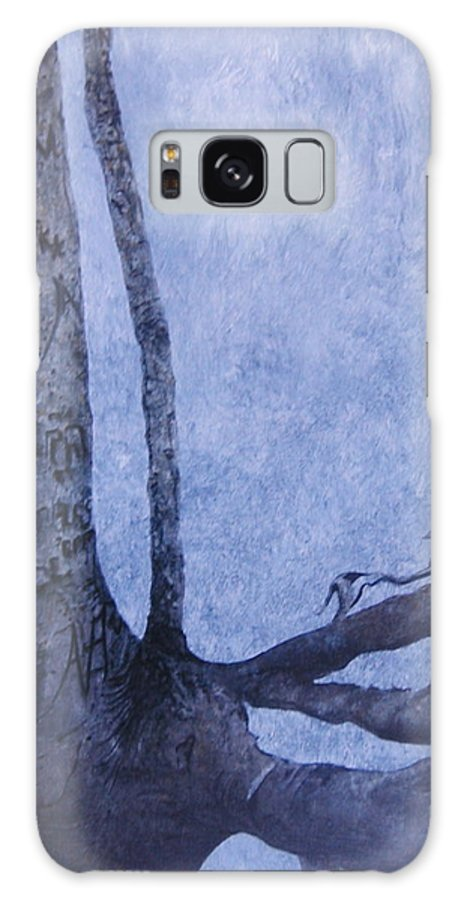Tree Trunk Galaxy Case featuring the painting Hedden Park II by Leah Tomaino