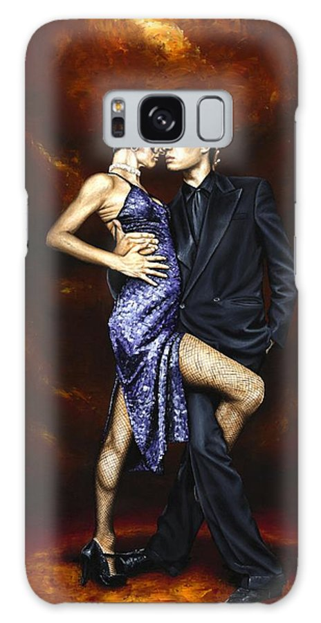Tango Dancers Love Passion Female Male Woman Man Dance Galaxy Case featuring the painting Held In Tango by Richard Young
