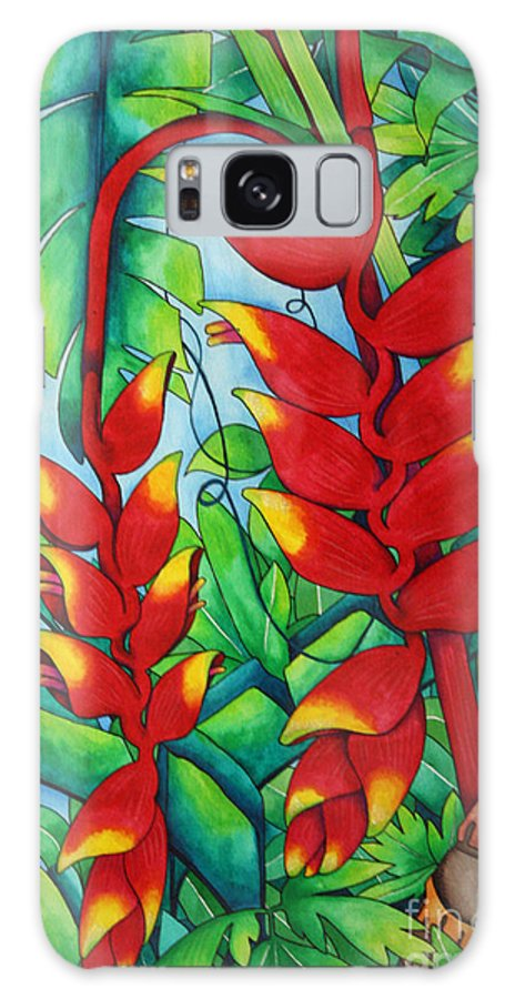 Heliconia Galaxy S8 Case featuring the painting Heliconia Study by Helen Weston
