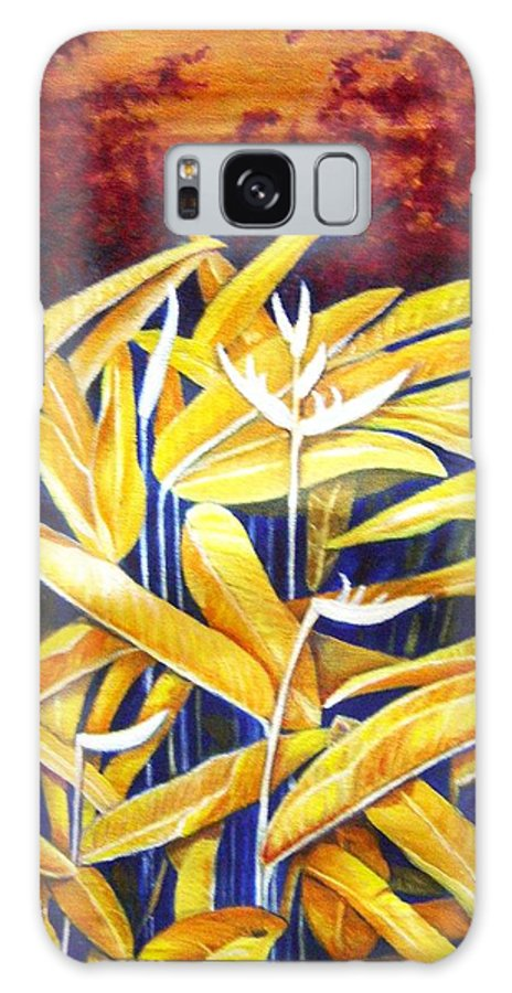 Heliconia Galaxy S8 Case featuring the painting Heliconia by Usha Shantharam