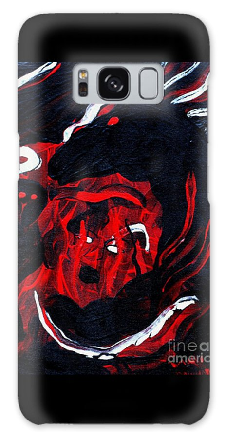 Horse Woman Red Black Silver Galaxy S8 Case featuring the painting Hell Beast by Dawn Downour