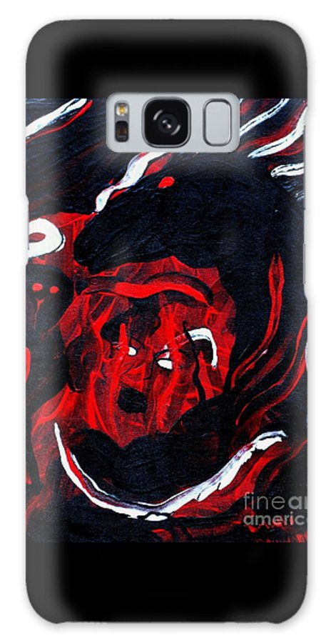 Horse Woman Red Black Silver Galaxy Case featuring the painting Hell Beast by Dawn Downour