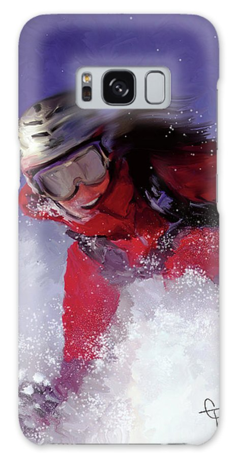 Ski Galaxy S8 Case featuring the painting Hell Bent For Powder by Colleen Taylor