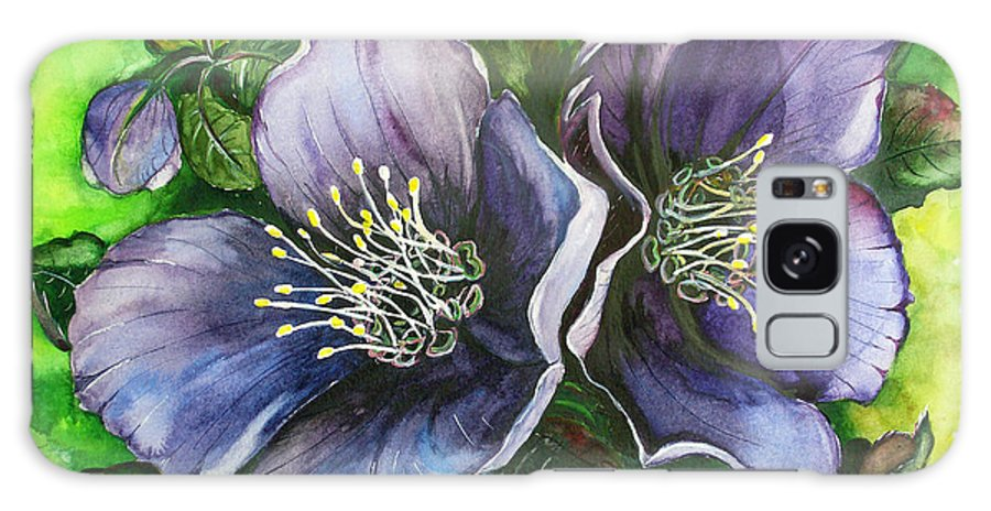 Flower Painting Botanical Painting Original W/c Painting Helleborous Painting Galaxy S8 Case featuring the painting Helleborous Blue Lady by Karin Dawn Kelshall- Best
