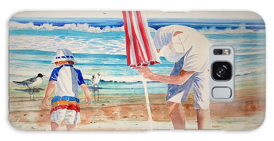 Beach Galaxy S8 Case featuring the painting Helping Dad Set Up The Camp by Tom Harris