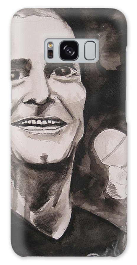 Author Black Darkestartist Flag Henry Ink Musician Panting Portrait Rollins Spoken Watercolor Darkest Artist Galaxy S8 Case featuring the painting Henry Rollins by Darkest Artist