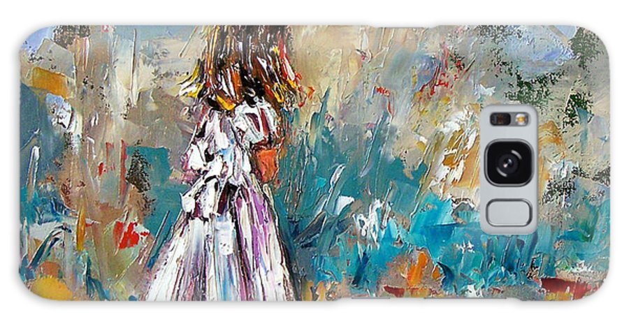 Children Art Galaxy S8 Case featuring the painting Her White Dress by Debra Hurd