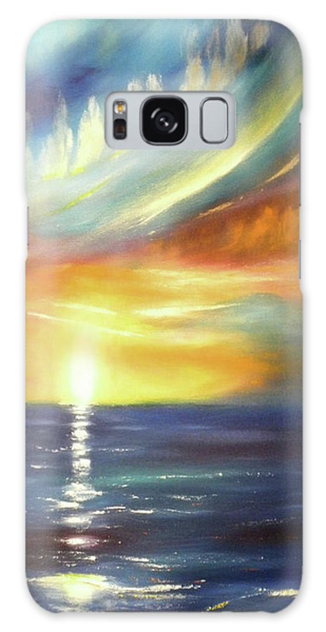 Brown Galaxy S8 Case featuring the painting Here It Goes - Vertical Colorful Sunset by Gina De Gorna