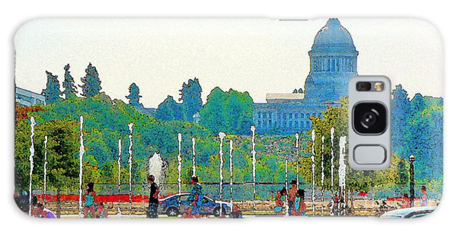 Park Galaxy S8 Case featuring the photograph Heritage Park Fountain by Larry Keahey