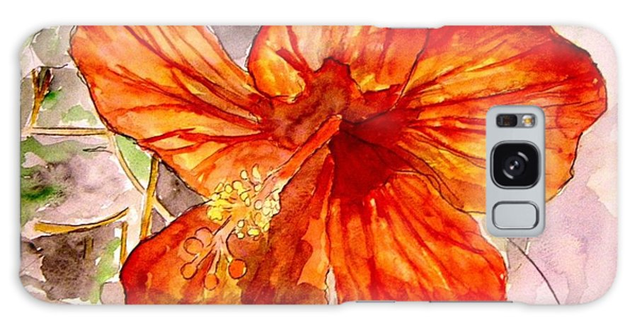 Hibiscus Galaxy S8 Case featuring the painting Hibiscus 2 by Derek Mccrea