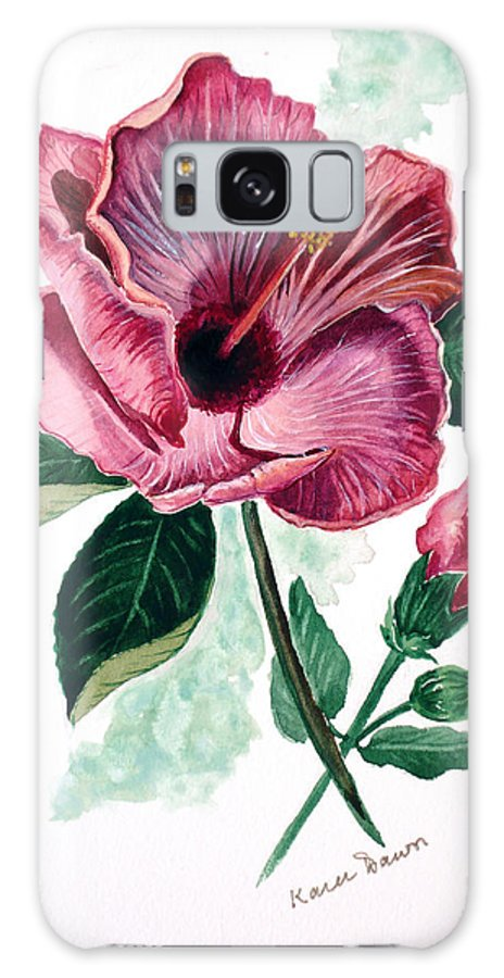 Flora Painting L Hibiscus Painting Pink Flower Painting Greeting Card Painting Galaxy S8 Case featuring the painting Hibiscus Dusky Rose by Karin Dawn Kelshall- Best