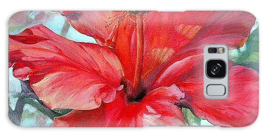Floral Painting Galaxy Case featuring the painting Hibiscus Rouge by Muriel Dolemieux
