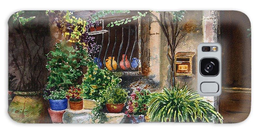 Courtyard Galaxy S8 Case featuring the painting Hidden Courtyard by Karen Fleschler