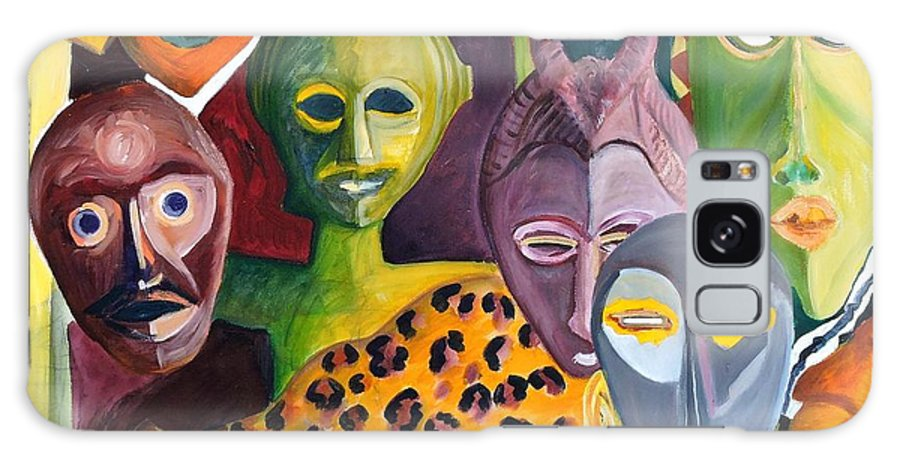African Masks Galaxy S8 Case featuring the painting Hidden Identities by Caroline Street