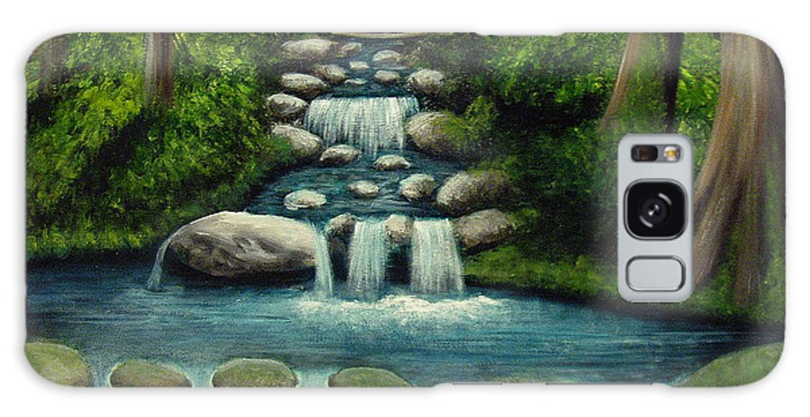 Waterfall Galaxy S8 Case featuring the painting Hidden Waterfall by Nancy Mueller
