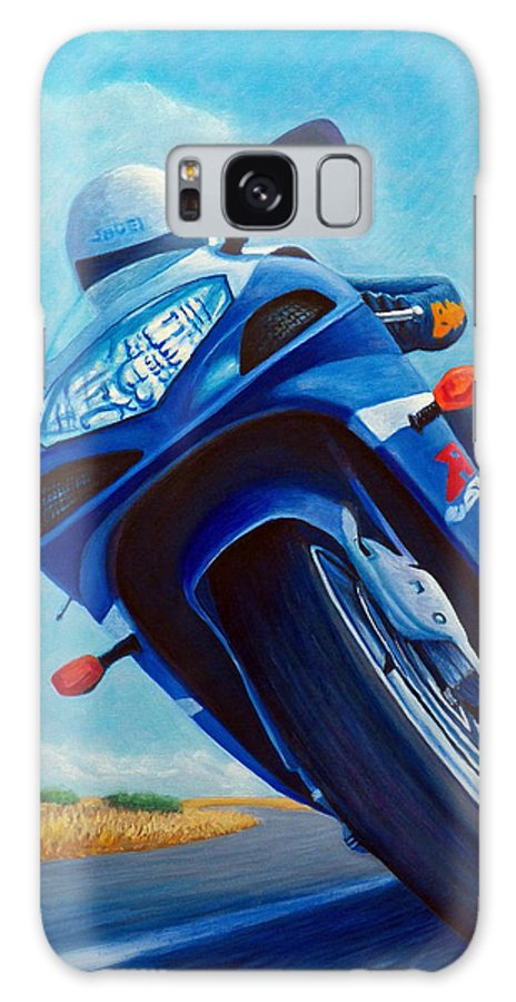 Motorcycle Galaxy Case featuring the painting High Desert Pass - Suzuki Gsxr1000 by Brian Commerford