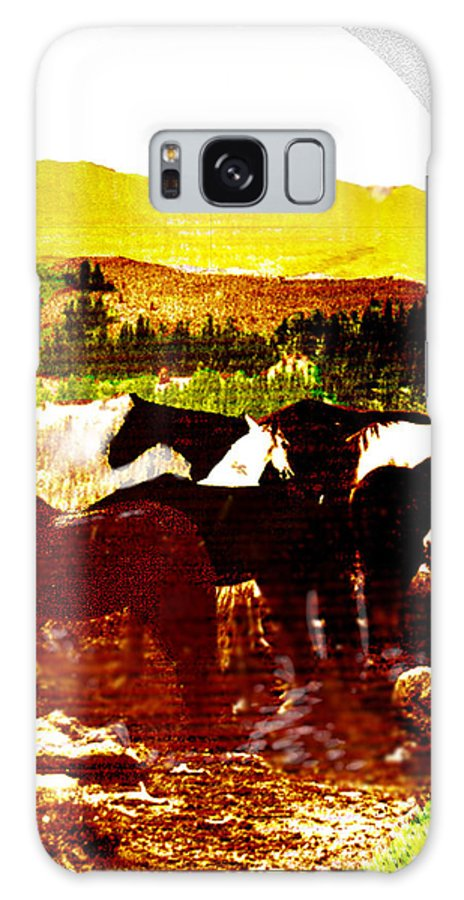 Mustangs Galaxy Case featuring the digital art High Plains Horses by Seth Weaver