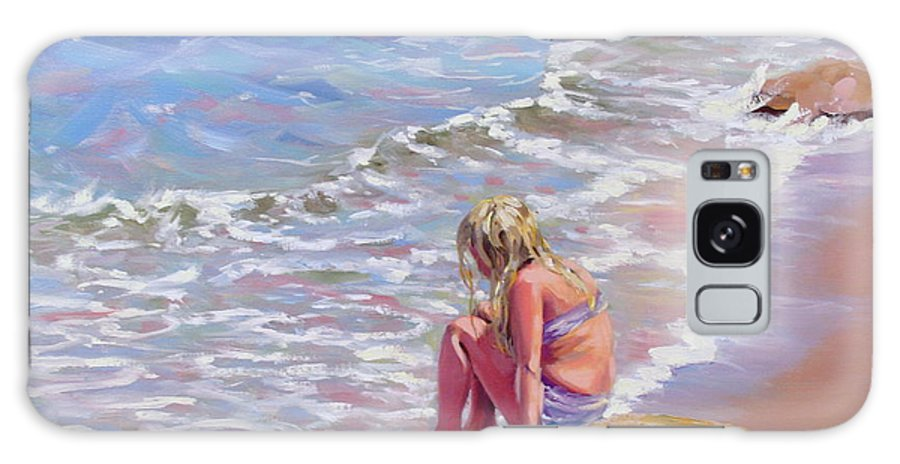 Oil Painting Galaxy Case featuring the painting High Tide by Laura Lee Zanghetti