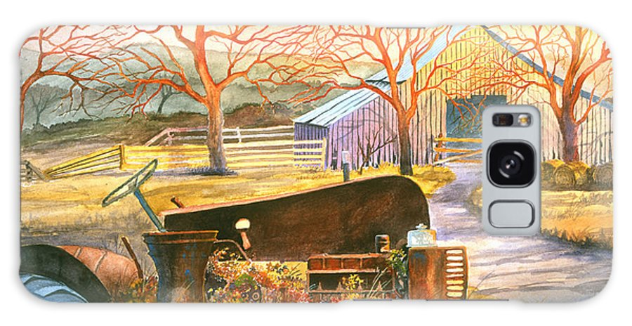 Old Tractor Galaxy Case featuring the painting Hill Country Memories by Howard Dubois