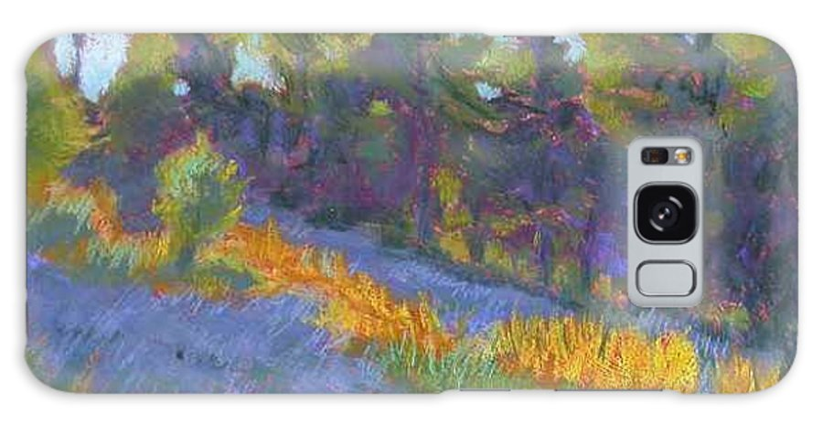 View Of Hillside And Evening Shadows Galaxy Case featuring the painting Hillside Shadows by Julie Mayser