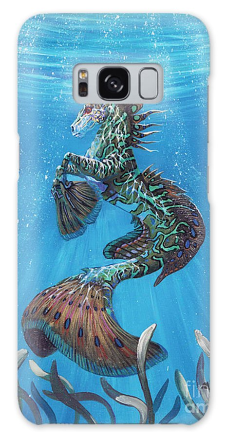Seahorse Galaxy S8 Case featuring the painting Hippocampus by Stanley Morrison