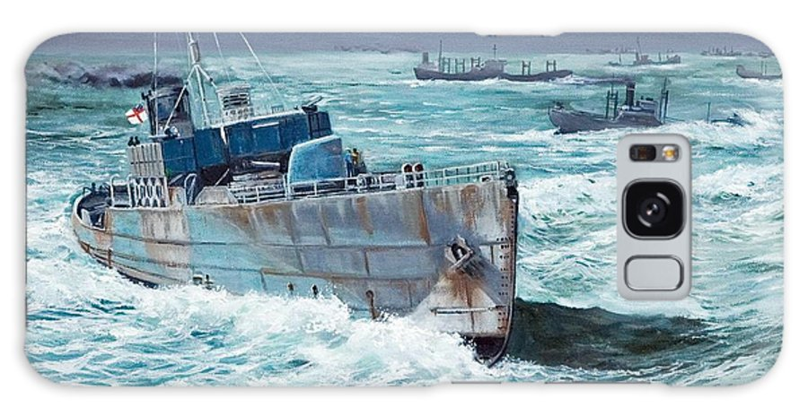 Hms Compass Rose Galaxy S8 Case featuring the painting Hms Compass Rose Escorting North Atlantic Convoy by Glenn Secrest
