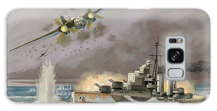 Ships That Never Were Galaxy S8 Case featuring the painting Hms Ulysses Attacked By Heinkel IIis Off North Cape by Glenn Secrest