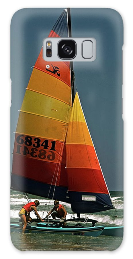 2 Men Board Small Catamaran Sailboat Galaxy S8 Case featuring the photograph Hobie Cat In Surf by Sally Weigand