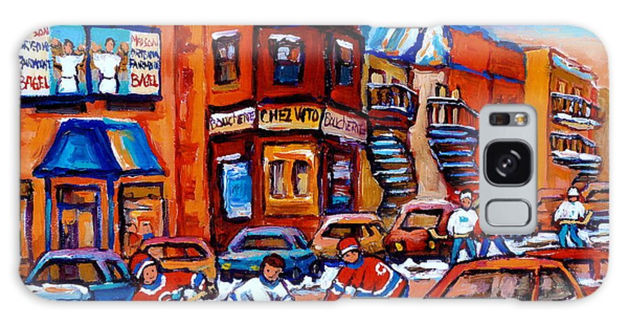 Fairmount Bagel Galaxy S8 Case featuring the painting Hockey At Fairmount Bagel by Carole Spandau