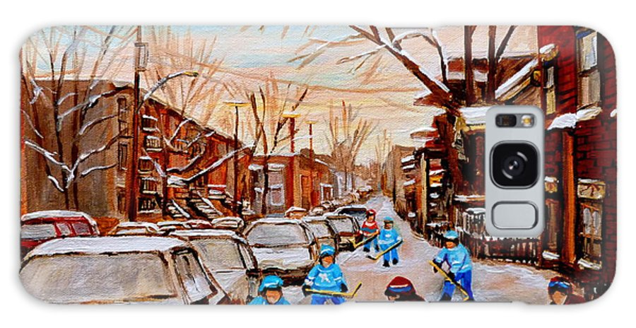 Montreal Galaxy S8 Case featuring the painting Hockey Gameon Jeanne Mance Street Montreal by Carole Spandau