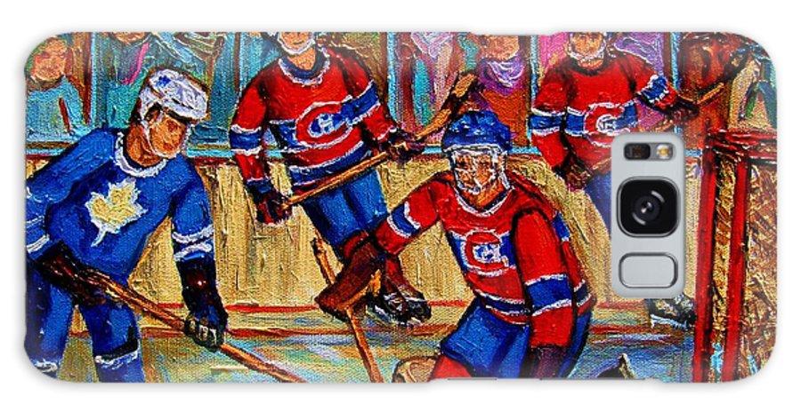 Hockey Galaxy S8 Case featuring the painting Hockey Hero by Carole Spandau